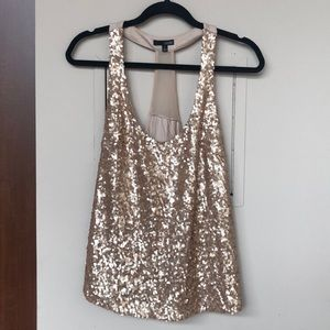 Ladakh gold sequin t strap tank top